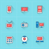 Computer and devices icons. Vector icon set in flat design style. For web site design and mobile apps — Cтоковый вектор