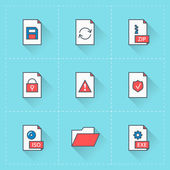 Document icons. Vector icon set in flat design style. For web site design and mobile apps — Stock Vector