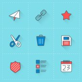 Vector icon set in flat design style. For web site design and mobile apps — 图库矢量图片