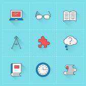Education icons. Vector icon set in flat design style. For web site design and mobile apps — Stock Vector