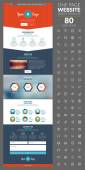 One page website template with icon set — Stock Vector