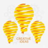 Flat design vector illustration. Idea concept. Lamp made of yellow ribbon on gears background — Stock Vector