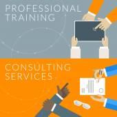Concetto di design piatto per servizi di consulenza e di formazione professionale. Illustrazione di vettore per banner web e materiale promozionale — Vettoriale Stock