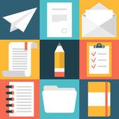 Set of flat design document icons. Paper, document, pencil, folder — Stockvektor