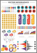 Big pack of data visualization vector infographics and design elements with business bar, charts, graph, diagrams and icon set for brochures, flyers and websites — Stock Vector