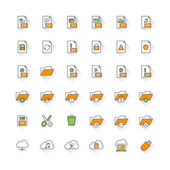Files and folders flat design icon set. File type, folders, cloud computing, save, cut, delete — Stock Vector