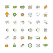 Computer and technology flat design icon set. Computer, phone, security, mail — Wektor stockowy