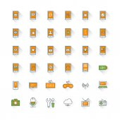 Mobile phone flat design icon set. Mobile phone with icons, computer, camera, cloud, game, battery — Wektor stockowy
