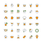 Food and restaurant flat design icon set. Food, beverages, cooking, kitchenware, cutlery — Vecteur