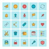 Mail and user interface icons. Vector icon set in flat design style. For web site design and mobile apps. — Wektor stockowy