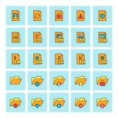 Files and folders. Vector icon set in flat design style. For web site design and mobile apps. — Wektor stockowy