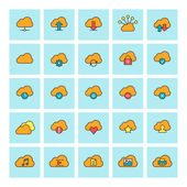 Cloud computing. Vector icon set in flat design style. For web site design and mobile apps. — Wektor stockowy