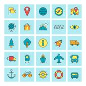 Travel and Transportation. Vector icon set in flat design style. For web site design and mobile apps. — Stock Vector