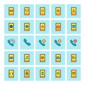 Mobile phone and communications. Vector icon set in flat design style. For web site design and mobile apps. — Wektor stockowy