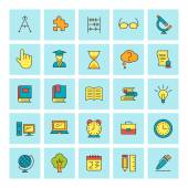 School and education. Vector icon set in flat design style. For web site design and mobile apps. — Stock Vector