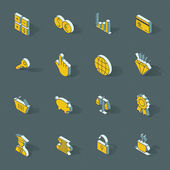 Vector isometric flat design icon set — Stock Vector