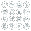 St. Valentine's day line icon set. Love, wedding or dating romantic symbols. Heart, rings, love letters, gift — Stock Vector #61693431