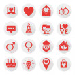 St. Valentine's day flat design icon set. Love, wedding or dating romantic symbols. Heart, rings, love letters, gift — Stock Vector #61693463