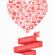 St. Valentine's Day card design. Vector illustration in flat design style. Heart made of icons and ribbon — Stock Vector #61694523