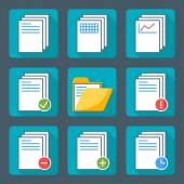 Flat style icon set for web and mobile application. Basic icons, document, folder — Vettoriale Stock