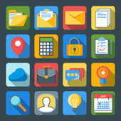 Flat style icon set for web and mobile application. Basic icons mail, calculator, folder, calendar, message — Stock vektor