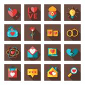 St. Valentine's day flat design icon set. Love, wedding or dating romantic symbols. Heart, rings, love letters, gift — Stock Vector
