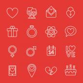 St. Valentine's day line icon set. Love, wedding or dating romantic symbols. Heart, rings, love letters, gift — Stock Vector