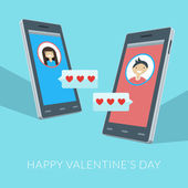 Smartphones with love sms, boy and girl icons on the screens — Stockvektor
