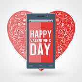 Smartphone with Happy Valentine's day and big heart with handdrawn design elements — Stock Vector