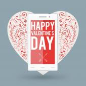 Smartphone with Happy Valentine's day and big heart with handdrawn design elements — Stockvektor