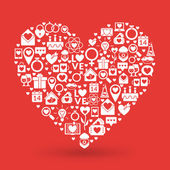 聖バレンタインの日カードのデザイン。愛のアイコンから作られた心 — ストックベクタ