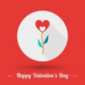 St. Valentine's Day card design. Vector illustration in flat design style. Flower icon with long shadow — Stock Vector