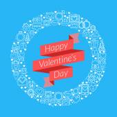 St. Valentine's Day card design. Vector illustration in flat design style. Ribbon with text and ring made of icons — Wektor stockowy