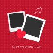 Vector St. Valentine's day greeting card in flat style. Two photo frame with heart — Stock Vector #61778037