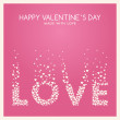 Vector St. Valentine's day greeting card in flat style. Word Love made of white hearts on the pink background — Stock Vector #61778043
