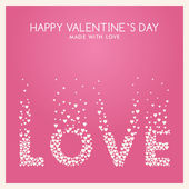 Vector St. Valentine's day greeting card in flat style. Word Love made of white hearts on the pink background — ストックベクタ
