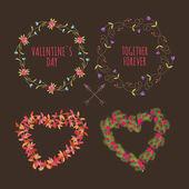 Valentine's Day hand drawn set vintage style vector design elements — Stock vektor