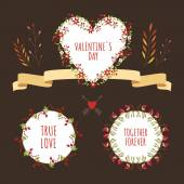 Valentine's Day hand drawn set vintage style vector design elements — Stock Vector