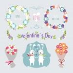 Valentine's Day hand drawn set vintage style vector design elements — Stock Vector #61980405