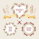 Valentine's Day hand drawn set vintage style vector design elements — Stock Vector #61980611