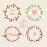 Valentine's Day hand drawn set vintage style vector design elements — Stock Vector #61980615
