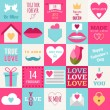 St. Valentine's day flat design icon set. Love, wedding or dating romantic symbols. Heart, rings, love letters, gift — Stock Vector #61980621