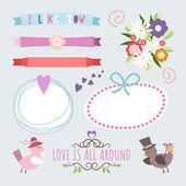 Valentine's Day hand drawn set vintage style vector design elements — Wektor stockowy