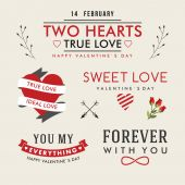 Valentine's Day hand drawn set vintage style vector design elements — Stock Vector