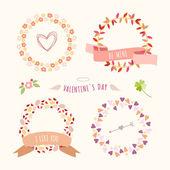 Valentine's Day hand drawn set vintage style vector design elements — ストックベクタ