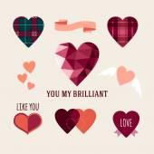 Valentine's Day hand drawn set vintage style vector design elements — Vetor de Stock
