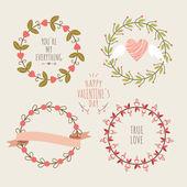 Valentine's Day hand drawn set vintage style vector design elements — Vector de stock