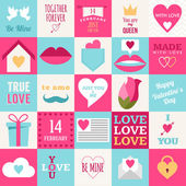 St. Valentine's day flat design icon set. Love, wedding or dating romantic symbols. Heart, rings, love letters, gift — Stockvector