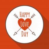Carte de voeux de jour Vector Saint-Valentin dans le style plat. Un symbole du cœur transpercé par une flèche — Vecteur