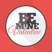 Vector St. Valentine's day greeting card in flat style. Be mine Valenitne — Stock Vector
